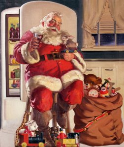 Santa Claus appearing in a Coca-Cola commercial